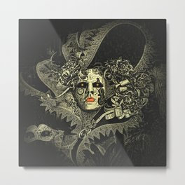 Halloween, baroque Venetian spooky mask Metal Print