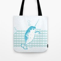 narwhal Tote Bags featuring Narwhal by 。i。f。studio