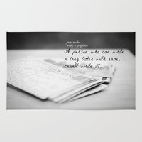jane austen Area & Throw Rugs featuring Jane Austen Letter by KimberosePhotography