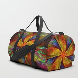 Painterly multicolor flower Duffle Bag