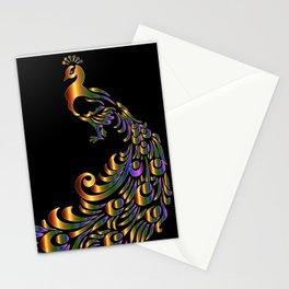 Peacock Gold with Blue and Purple Highlights Stationery Cards