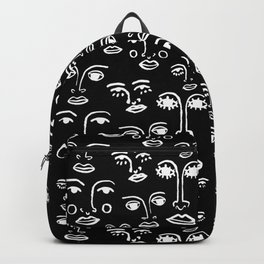 Funky Faces in Black Backpack