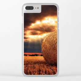 bales of hay in warm tones HDR Clear iPhone Case