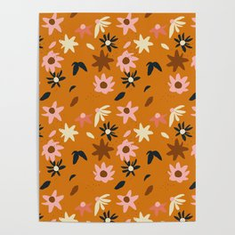 Fall flowers pattern Poster