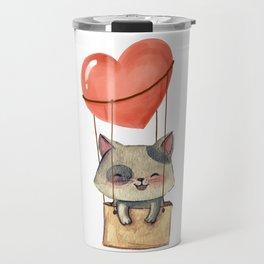 funny cute sweet kitten cat lovers hot air balloon of love present gift idea Travel Mug