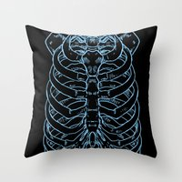 skeleton Throw Pillows featuring Skeleton by Robbie Drew Dixon