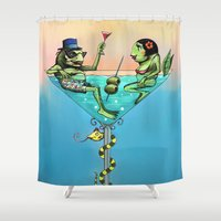 martini Shower Curtains featuring Frog Martini by Dino Turull
