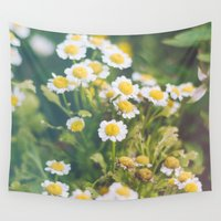 daisies Wall Tapestries featuring Daisies by Chelle Wootten