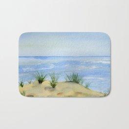 Dunes and Ocean Fine Art Watercolor painting Bath Mat