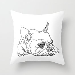 French Bulldog Puppy One Line Drawing Throw Pillow