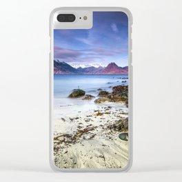 Beach Scene - Mountains, Water, Waves, Rocks - Isle of Skye, UK Clear iPhone Case