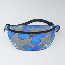 Decorative Blue Shades Butterfly Grey Pattern Art Fanny Pack
