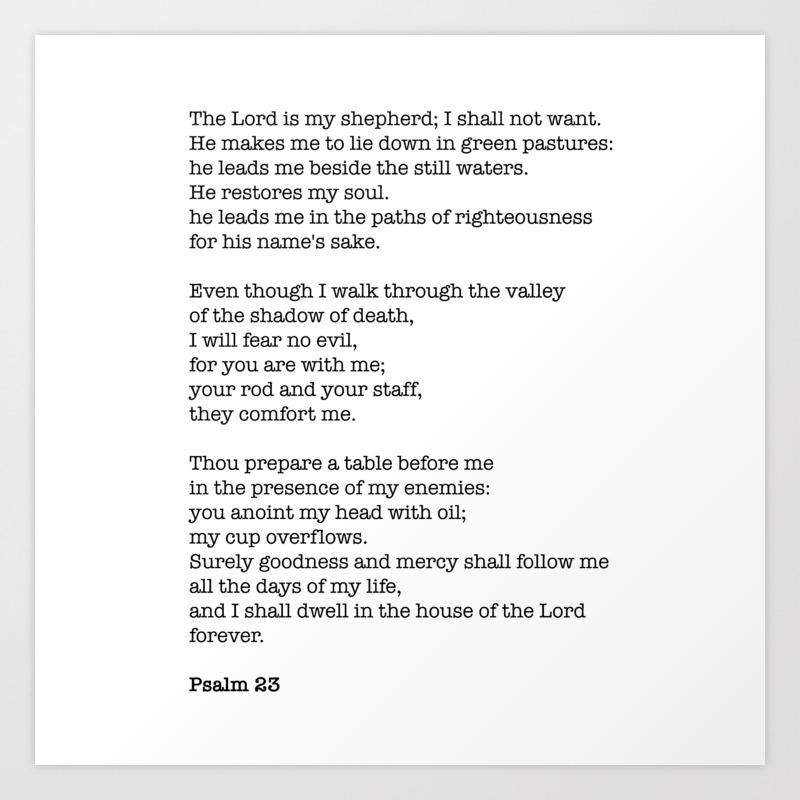Psalm 23 Bible Verse Print The Lord Is My Shepherd Art Print By Socoart Society6