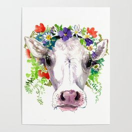 Cow and Flowers, Cow head floral Farm cattle head famr animals Poster
