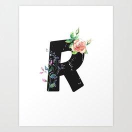 Letter R - Botanical English Alphabet, Name Initial Art Print