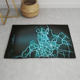 La Rochelle, France Blue, White, Neon, Glow, City, Map Rug