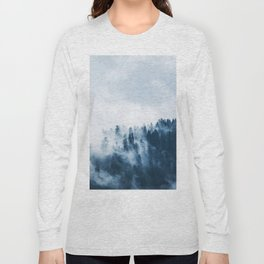 CLOUDS - WHITE - FOG - TREES - FOREST - LANDSCAPE - NATURE - TIMBER - WOODS - PHOTOGRAPHY Long Sleeve T-shirt