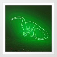 Dino Glow Art Print