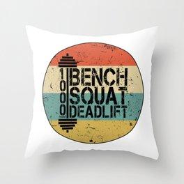 1000 Pounds Bench Squat Deadlift Powerlift Club Fitness Bodybuilder Bodybuilding Vintage Retro Throw Pillow
