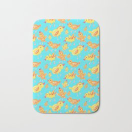 Yellow Chicks in Blue Bath Mat