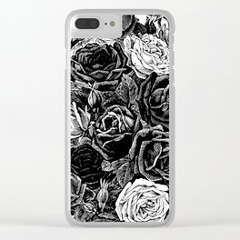 Beautiful Black&White Roses Clear iPhone Case