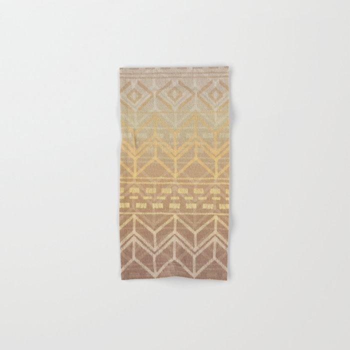 Neutral Tan & Gold Tribal Ikat Pattern Hand & Bath Towel