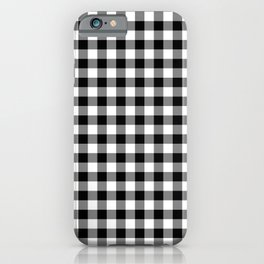 Black White Gingham Check iPhone Case
