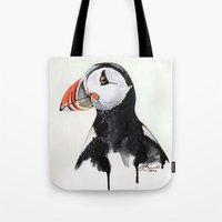 puffin Tote Bags featuring Puffin by Paint the Moment