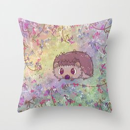Happiest Little Hedgehog Throw Pillow