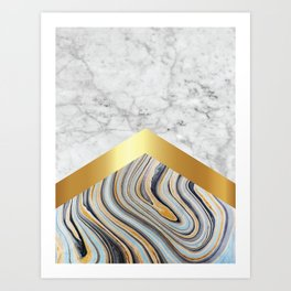 Arrows - White Marble, Gold & Blue Marble #610 Art Print