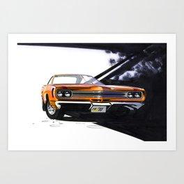 1970 Muscle Car Sketch in Vitamin C Orange Art Print