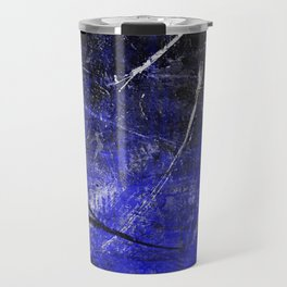 In The Dead Of Night - Textured Abstract In Blue, Black and White Travel Mug