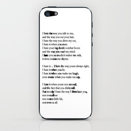 10 Things i Hate About You - Poem iPhone Skin