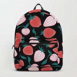 Pink strawberry pattern on black background, tutti frutti trend! Backpack