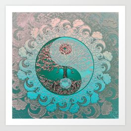 Pretty Chic Teal Tree of Life with Yin Yang and Heart Kunstdrucke