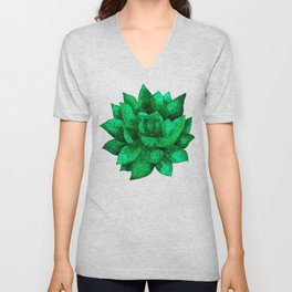Green echeveria succulent - watercolor Unisex V-Neck