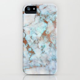 Rose Marble with Rose Gold Veins and Blue-Green Tones iPhone Case