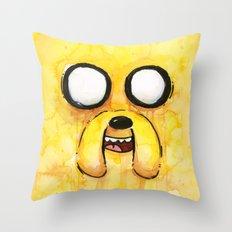 Jake Face Yellow Dog Cartoon Character Throw Pillow
