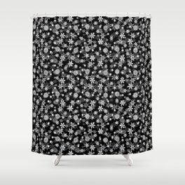 Festive Black and White Christmas Holiday Snowflakes Shower Curtain