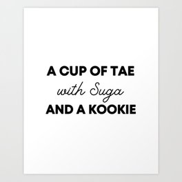 A cup of Tae with Suga and a Kookie, BTS Jungkook, BTS V, BTS Suga Art Print