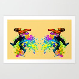 Hip hop dancer, teenager jumping, dancing Art Print