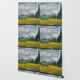 Wheat Field with Cypresses Wallpaper