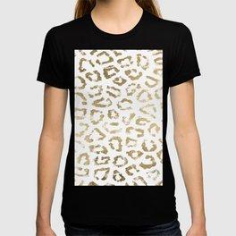Modern white chic faux gold foil leopard print T-shirt
