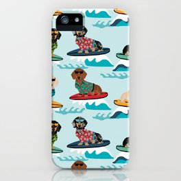 dachshund surfing dog breed pattern pet gifts iPhone Case