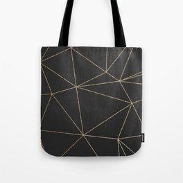Modern abstract dark gray gold glitter geometrical Tote Bag