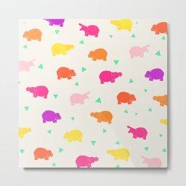 Hippo Party Metal Print