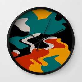 Misc shapes in retro colors Wall Clock
