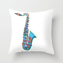 Colorful Saxaphone Musical Instrument Sax Player Throw Pillow