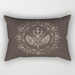 Gungnir - Spear of Odin Brown Leather and gold Rectangular Pillow