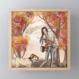 Fall Folliage Walk with Pets Framed Mini Art Print
